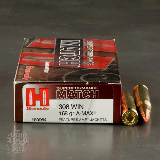 20rds - .308 Hornady Superformance Match 168gr. A-MAX Ammo