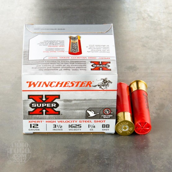 "25rds – 12 Gauge Winchester Super-X High Velocity 3-1/2"" 1-1/4 oz. #BB Steel Shot Ammo"