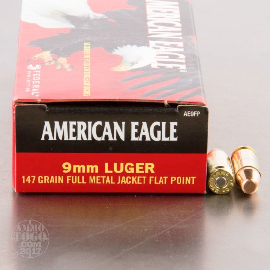 50rds - 9mm Federal American Eagle 147gr. FMJ Ammo