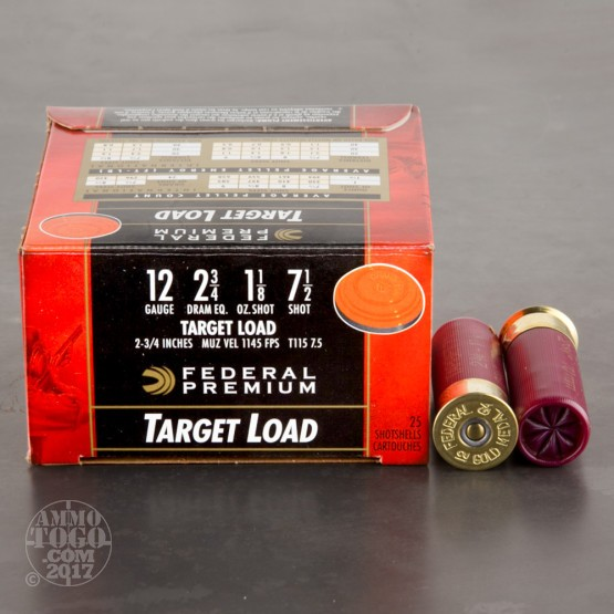 "25rds - 12 Gauge Federal Gold Medal Target Load 2 3/4"" 1 1/8oz. #7 1/2"