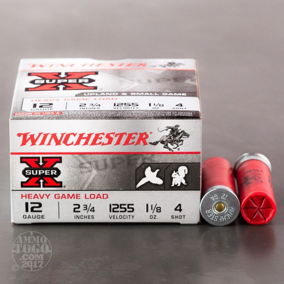 "250rds - 12 Gauge Winchester Super-X Heavy Game 2 3/4"" 1 1/8oz. #4 Shot Ammo"