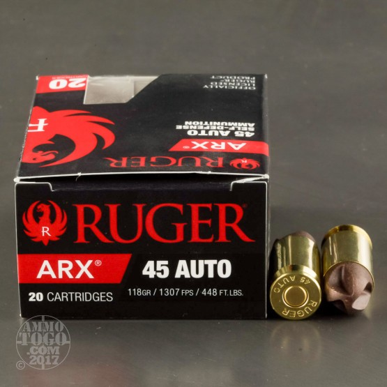 20rds - 45 ACP Ruger PolyCase 118gr. ARX Ammo
