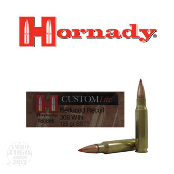 20rds - 308 Win Hornady Custom Lite Reduced Recoil 125gr. SST Polymer Tip Ammo