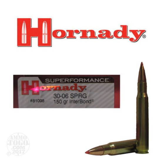 200rds - 30-06 Hornady Superformance 150gr. InterBond Ammo
