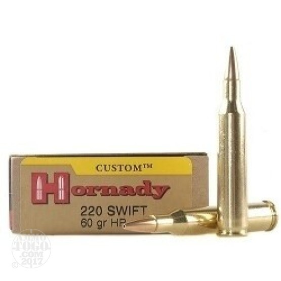 20rds -  220 Swift Hornady 60gr. Hollow Point Ammo