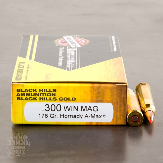 100rds - 300 Win Mag Black Hills Gold 178gr. A-Max Polymer Tip Ammo