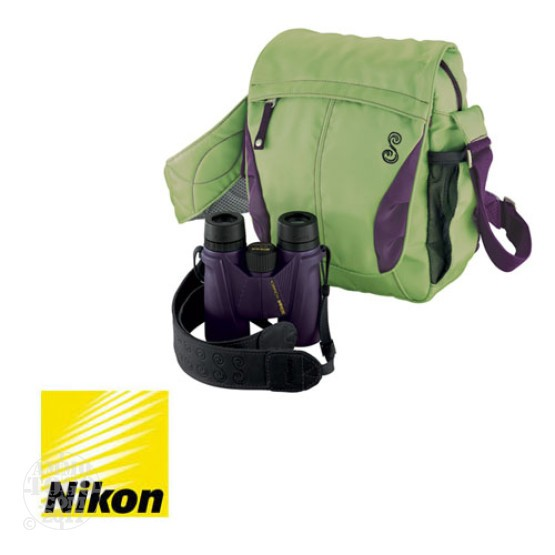 1 - Nikon 8x36 SHE Safari ATB Binoculars with Travel Bag Plum/Kiwi