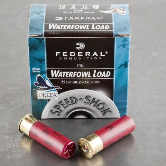 "250rds - 12 Ga. Federal Speed-Shok 3"" 1 1/8oz #BB Steel Shot Ammo"