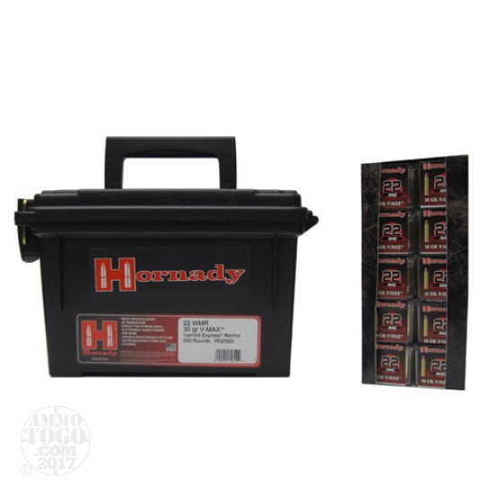 500rds - 22 WMR Hornady 30gr. V-MAX Polymer Tip in Ammo Can
