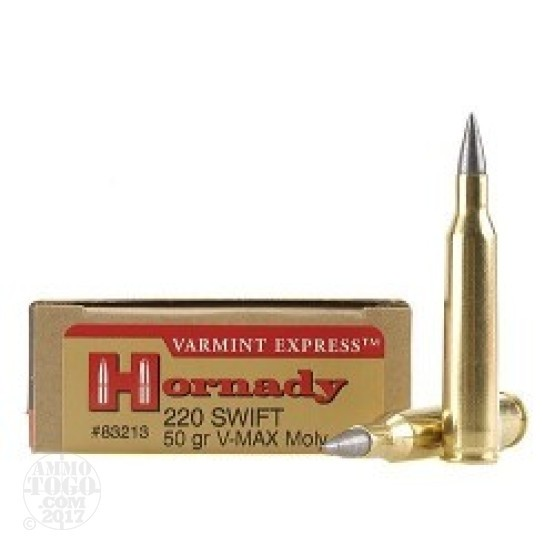 20rds - 220 Swift Hornady 50gr. Moly Coated V-Max Polymer Tip Ammo