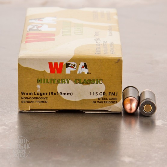 1000rds - 9mm WPA Military Classic 115gr. FMJ Ammo