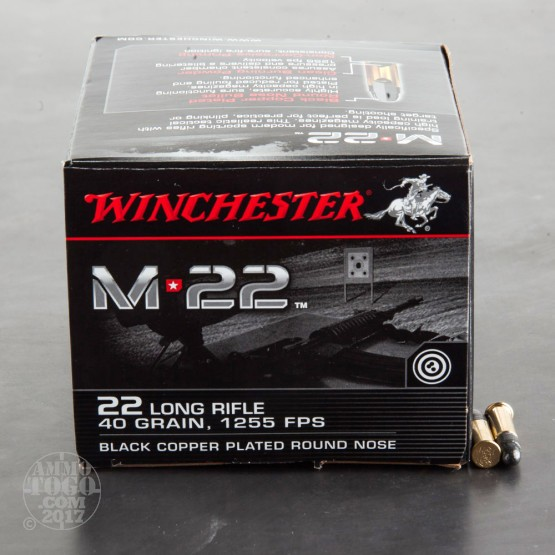 500rds - 22LR Winchester M22 40gr. Black Copper Plated Round Nose