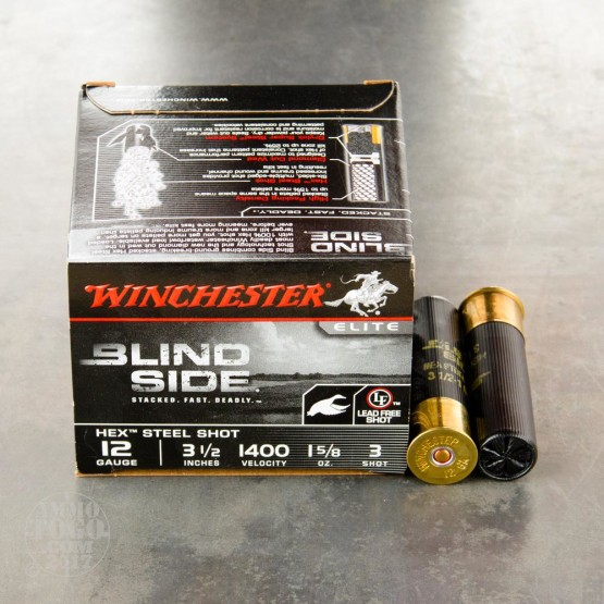 "25rds - 12 Ga. Winchester Elite Blind Side 3 1/2"" 1 5/8oz. #3 Hex Steel Shot Ammo"