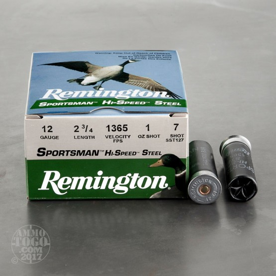 "250rds - 12 Gauge Remington Sportsman Hi-Speed Steel 2 3/4"" 1oz. #7 Shot Ammo"