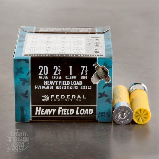 "250rds - 20 Gauge Federal Game Shok 2 3/4"" 1oz. #7 1/2 Shot Ammo"