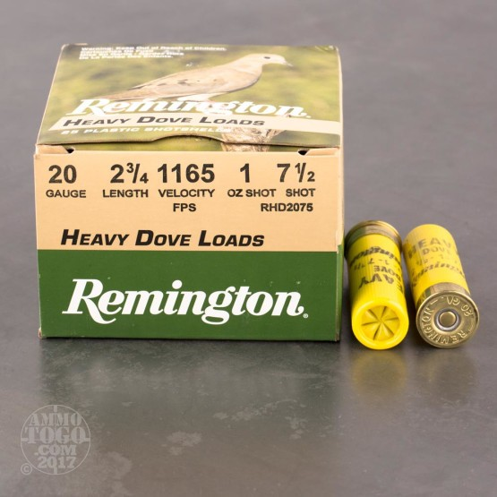 "25rds - 20 Gauge Remington Heavy Dove Load 2 3/4"" 1oz. #7 1/2 Shot Ammo"