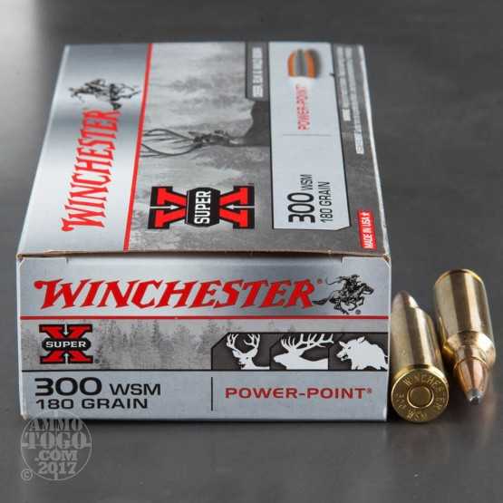 20rds - 300 WSM Winchester Super-X 180gr. Power Point Ammo