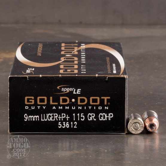 500rds - 9mm Speer LE Gold Dot 115gr +P+ HP