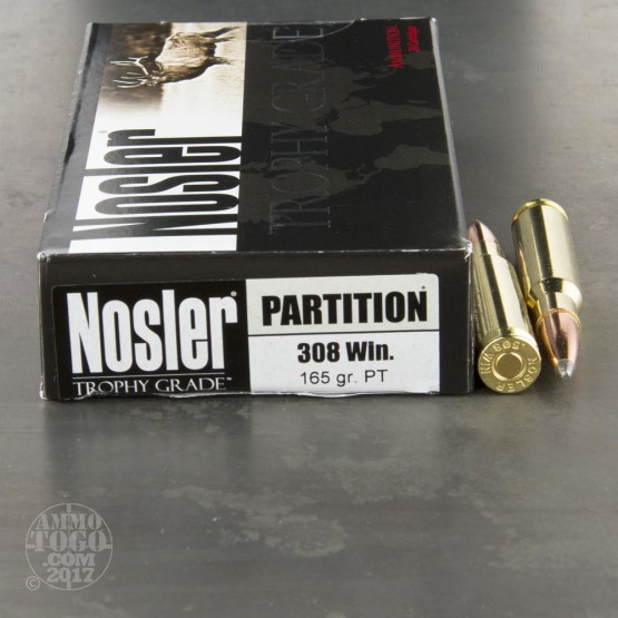 20rds - 308 Win. Nosler Trophy Grade 165gr. Partition SP Ammo