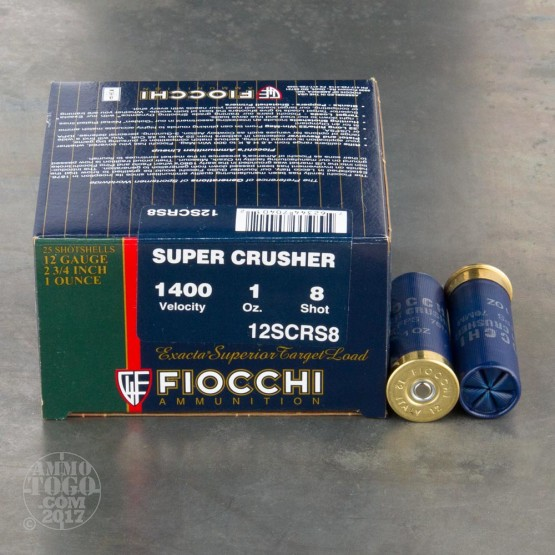 "25rds - 12ga Fiocchi SUPER CRUSHER 2 3/4"" 1oz. #8 Shot Target Load 1400"