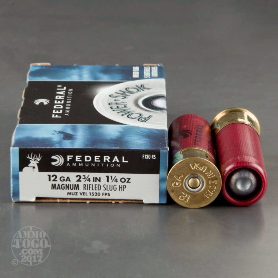 "5rds - 12 Gauge Federal Power-Shok 2-3/4"" 1-1/4 Ounce HP Rifled Slug Ammo"