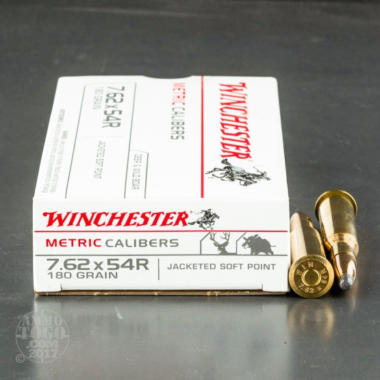 20rds - 7.62X54R Winchester 180gr. Soft Point Ammo