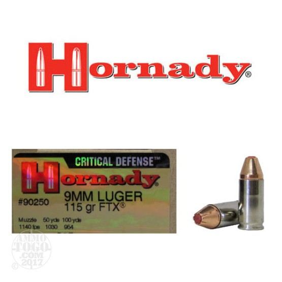 250rds - 9mm Hornady Critical Defense 115gr. HP Ammo