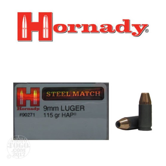 50rds - 9mm Hornady 115gr. Steel Match HAP Ammo