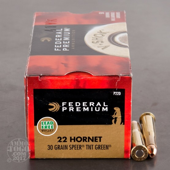 50rds - 22 Hornet Federal Premium 30gr. Speer TNT Green Hollow Point Ammo