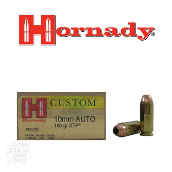 20rds - 10mm Hornady 180gr. XTP Hollow Point Ammo