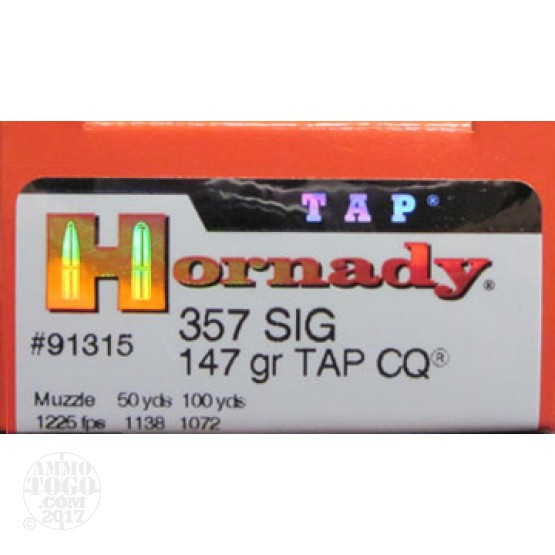 200rds - 357 SIG Hornady Tap LE Close Quarters (CQ) 147gr. HP Ammo
