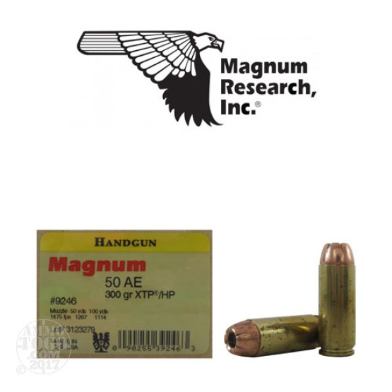 20rds - 50 AE Magnum Research 300gr. XTP HP Ammo