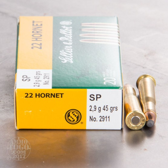20rds - 22 Hornet Sellier & Bellot 45gr. Soft Point Ammo