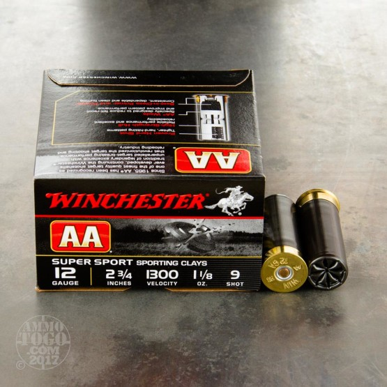 "25rds - 12 Gauge Winchester AA Sporting Clay 2 3/4"" 1 1/8 Ounce  #9 Shot Ammo"