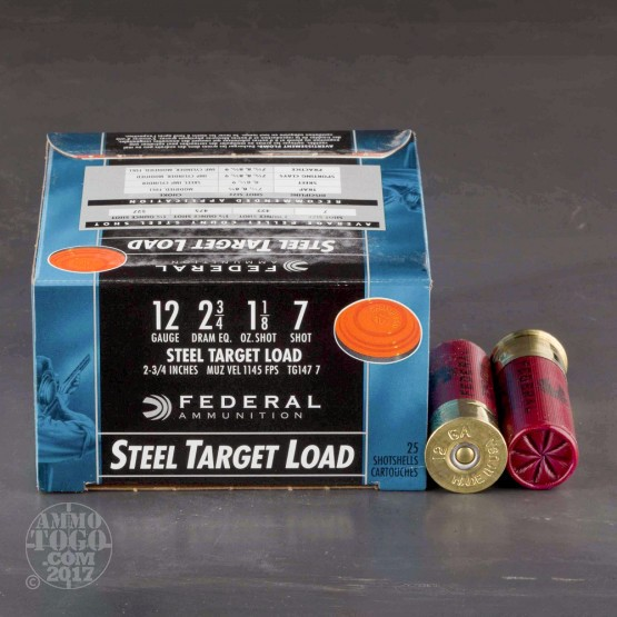 "25rds - 12 Gauge Federal Steel Target Load 2 3/4"" 2 3/4 Dram 1 1/8oz. #7 Shot Ammo"