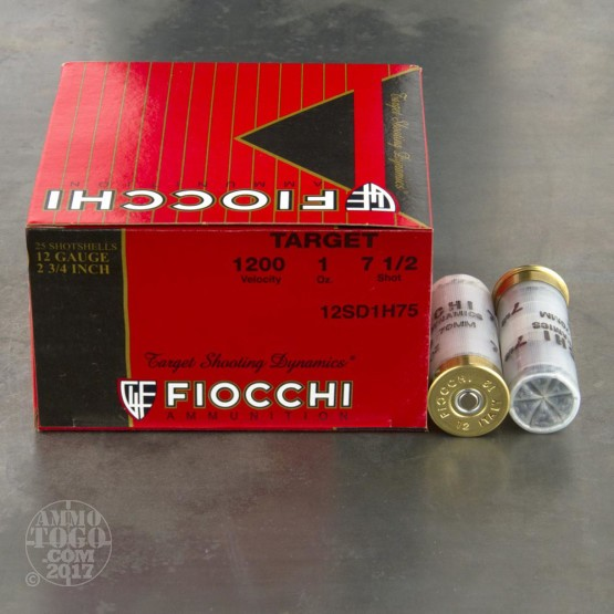 "25rds - 12 Gauge Fiocchi Heavy Target Shooting Dynamics 2 3/4"" 1oz. #7 1/2 Shot Ammo"