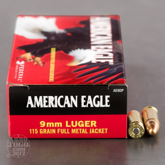 50rds - 9mm Federal American Eagle 115gr. FMJ Ammo