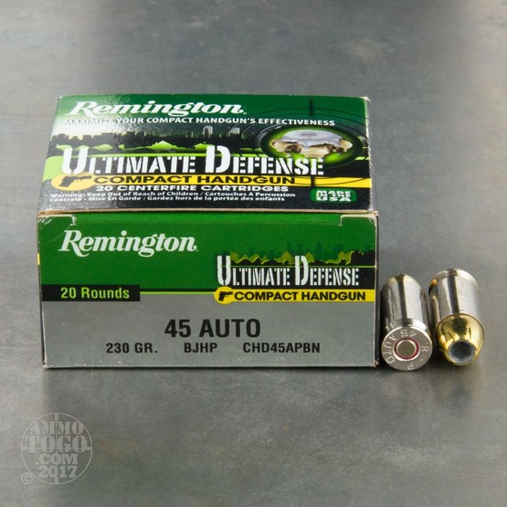 20rds - 45 ACP Remington Ultimate Defense Compact Handgun 230gr. BJHP Ammo