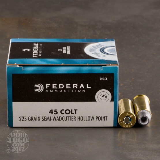 20rds - 45 Long Colt Federal Champion 225gr. Semi-Wadcutter Hollow Point Ammo