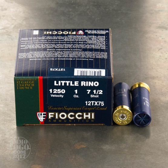 25rds - 12 Gauge Fiocchi Little Rino 1oz. #7 1/2 Shot Ammo 2 3/4