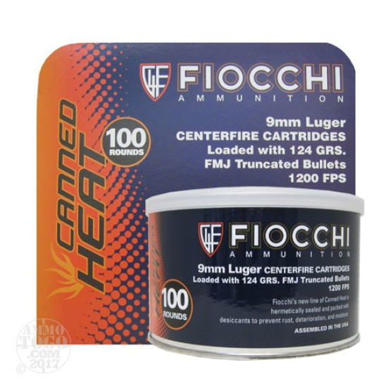 100rds - 9mm Fiocchi Canned Heat 124gr Truncated Full Metal Jacket