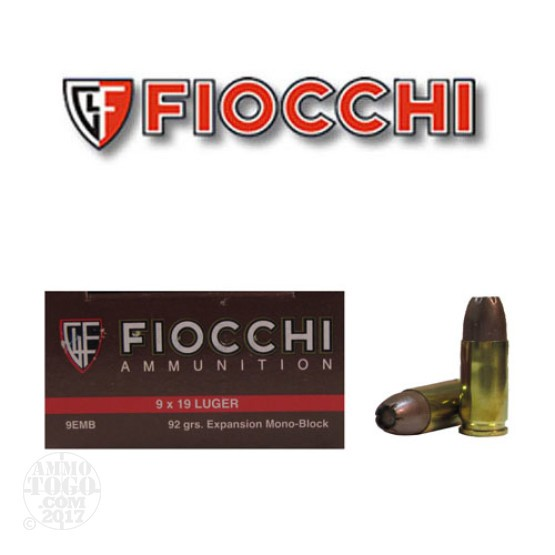 500rds - 9mm Fiocchi Expansion Mono-Block 92gr. Self Defense Ammo