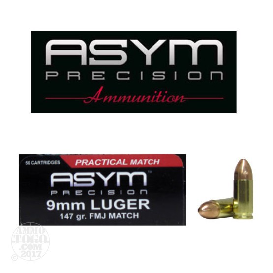 50rds - 9mm ASYM 147gr. FMJ Practical Match Ammo