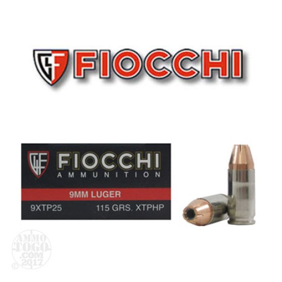 500rds - 9mm Fiocchi 115gr. XTP Jacketed Hollow Point Ammo