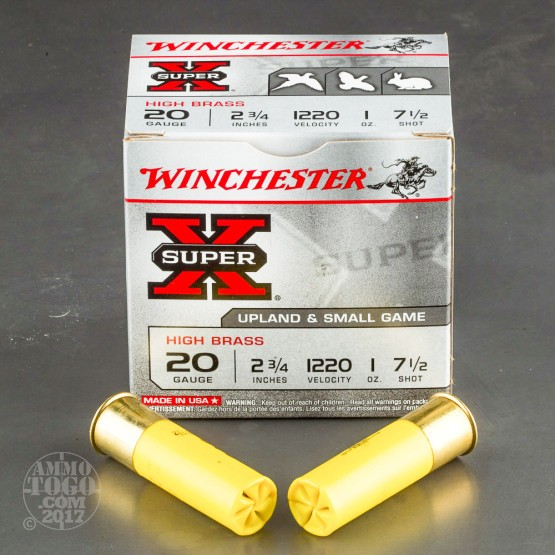 "25rds - 20 Gauge Winchester Super-X High Brass Game Load 2 3/4"" 1 oz. #7 1/2 Shot"