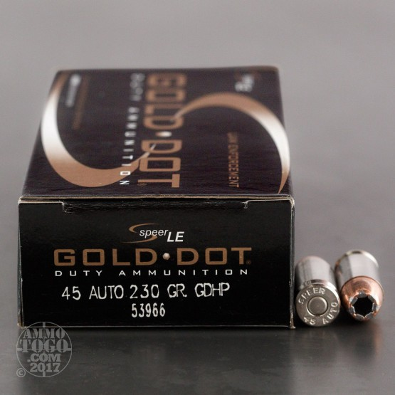 50rds - 45 ACP Speer LE Gold Dot 230gr. HP Ammo