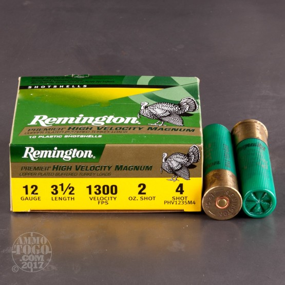 "10rds - 12 Gauge Remington Premier HV Magnum 3 1/2"" 2oz. #4 Turkey Ammo"