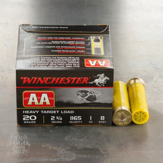 "250rds - 20 Gauge Winchester AA Heavy Target 2-3/4"" 1 Oz. #8 Shot Ammo"