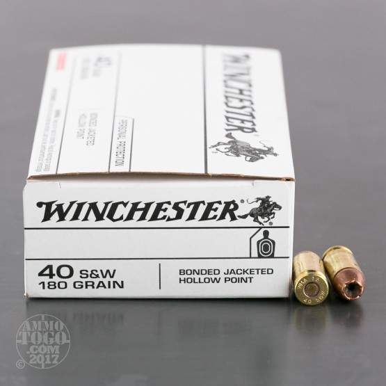 500rds - 40 S&W Winchester 180gr Bonded Jacketed Hollow Point Ammo
