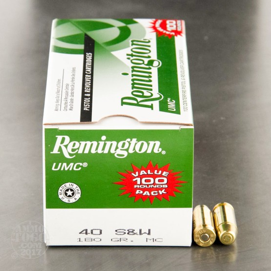 100rds - 40 S&W Remington UMC 180gr. MC Ammo